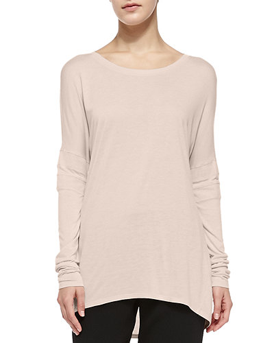 Vince Boat-Neck Tee W/ Mesh Inset Sleeves