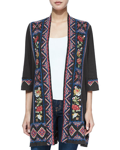 Carolina Embroidered Duster Cardigan