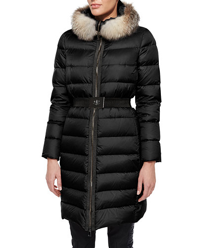 Fabrefox Fur-Trim Puffer Coat with Belt