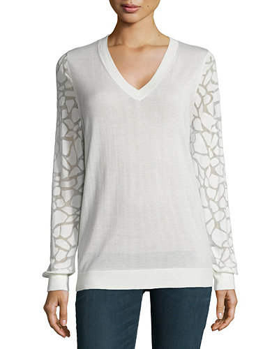 Animal Burnout-Sleeve Cashmere Top