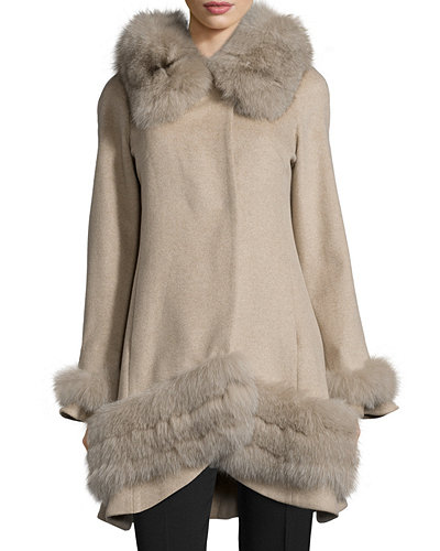 Belle Fare Cashmere Swing Coat with Fur Cuffs