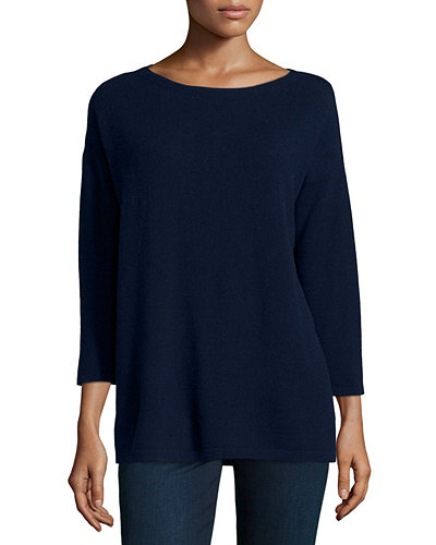 3/4-Sleeve Cashmere Tunic W/ Silk Back