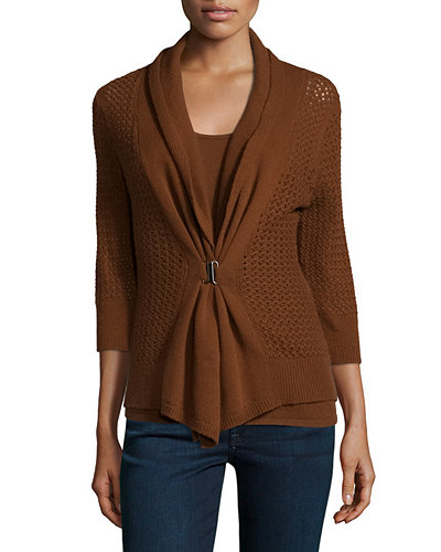 Open-Weave Buckle-Front Cashmere Cardigan