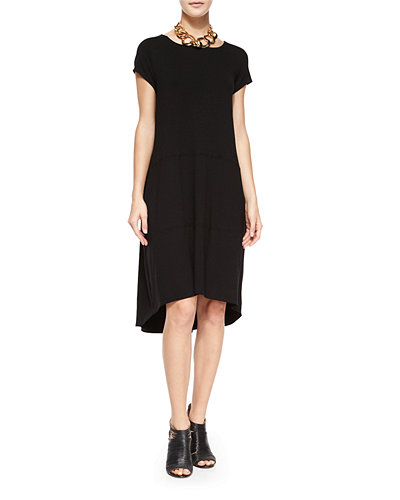 Eileen Fisher Cap-Sleeve Jersey High-Low Dress