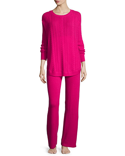 Cashmere Cable-Knit Top & Pant Set