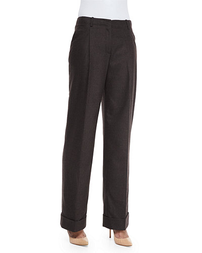 Lafayette 148 New York Flannel Wide-Leg Pants