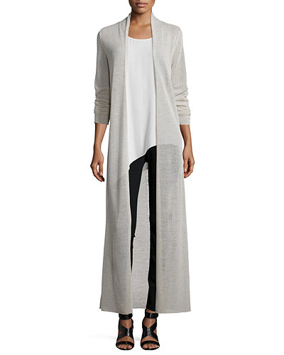 Washable Merino Wool Maxi Cardigan, Plus Size
