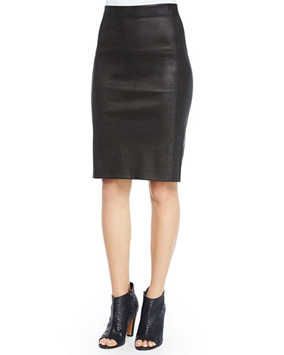 Lamb Leather Pencil Skirt