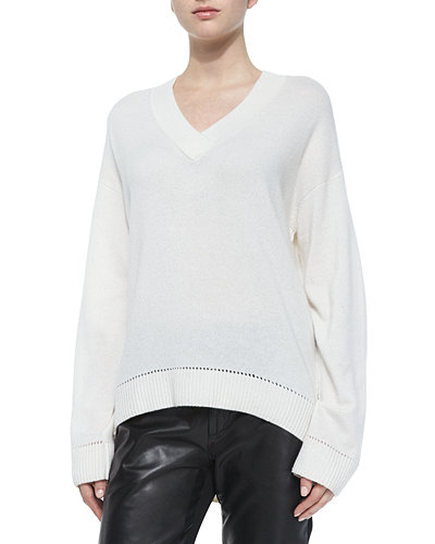 Vince Long-Sleeve Cashmere Pointelle-Trim Sweater
