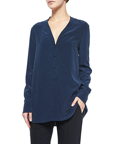Vince V-Neck Button-Down Silk Blouse