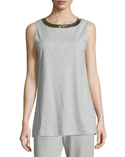 Sequined-Neck Long Tank