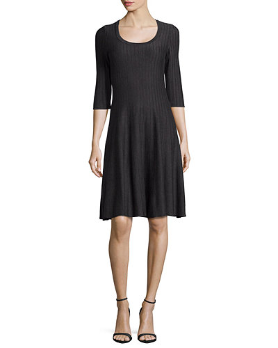 NIC+ZOE Twirl 3/4 Sleeve Knit Fit-and-Flare Dress