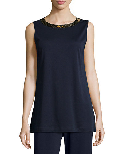 Joan Vass Sequined-Neck Long Tank, Plus Size
