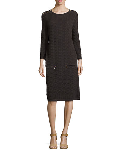 Joan Vass Sand-Stitched Zip-Pocket Shift Dress, Petite
