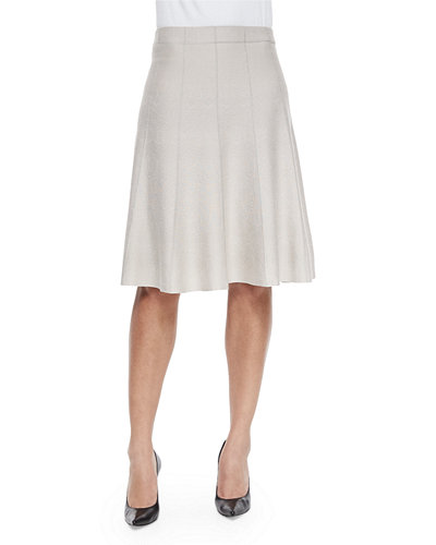 Paneled Twirl Skirt, Silver Cloud