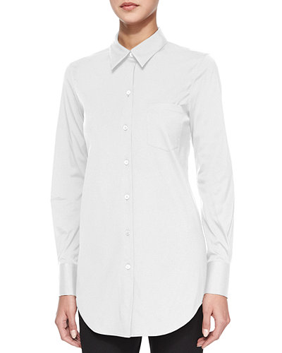 Theory Robertson Long-Sleeve Button-Front Top