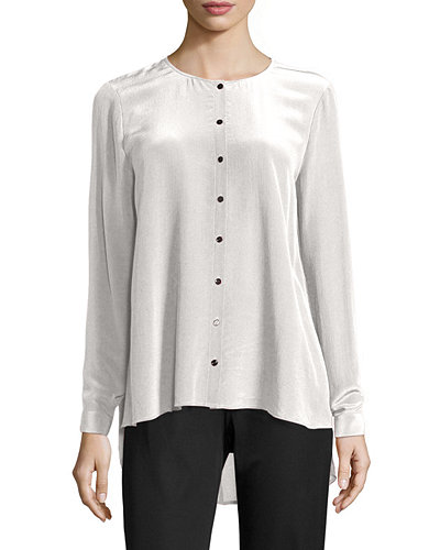 Eileen Fisher Long-Sleeve Crepe de Chine Blouse