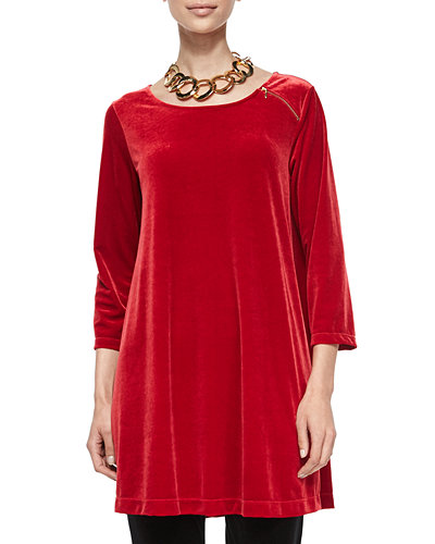 3/4-Sleeve Velour Tunic W/ Zipper Detail