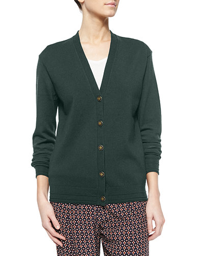 Tory Burch Madison Wool V-Neck Cardigan