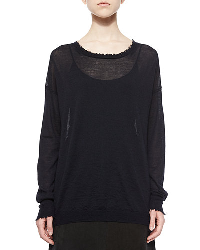 Helmut Lang Frayed-Trim Thin Cashmere Top