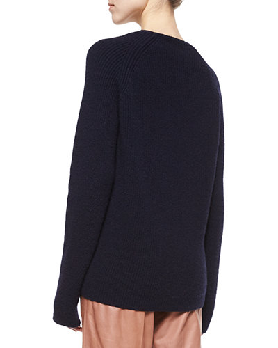 Helmut Lang Ribbed V-Neck Merino/Cashmere Sweater