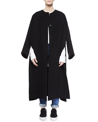 Oversized Cashmere Side-Slit Coat