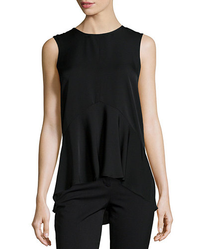 Theory Laycee Arched-Hem Silk Top