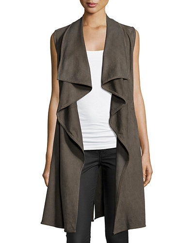 Elem Drape-Front Leather Vest