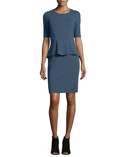Sheath Dress W/ Front Peplum
