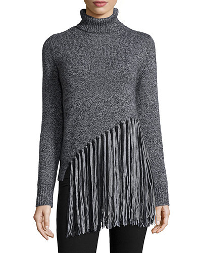 Long-Sleeve Five-Gauge Turtleneck Sweater W/Fringe