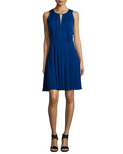 MICHAEL Michael Kors Sleeveless Pleated A-Line Dress