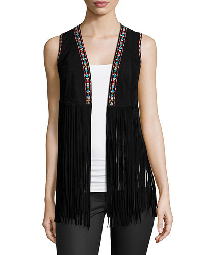 Sonia Embroidered Suede Fringe Vest
