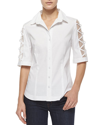 Burnout-Sleeve Button-Front Blouse