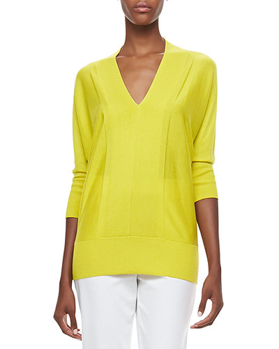 Neiman Marcus Cashmere Collection V-Neck 3/4-Sleeve Sweater
