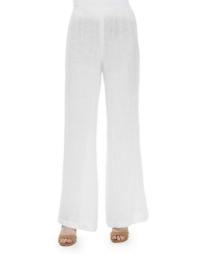 Crinkled Linen Wide-Leg Pants, Petite