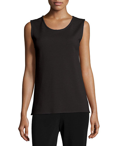Wool Knit Longer Tank, Black