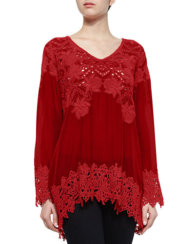 Lacy V-Neck Georgette Tunic, Petite
