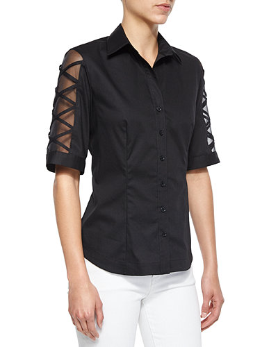 Burnout-Sleeve Button-Front Blouse, Plus Size