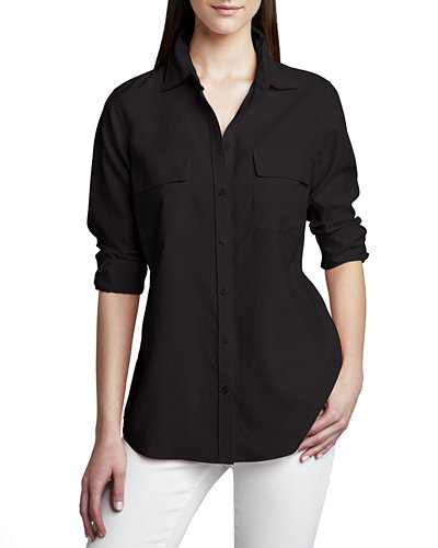 Safari Long-Sleeve Silk Shirt, Plus Size