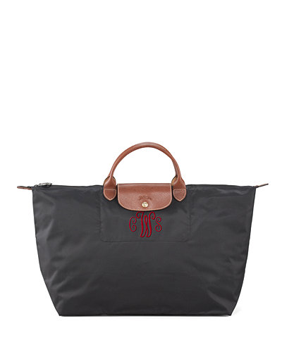 Le Pliage Large Monogram Travel Tote Bag, Black