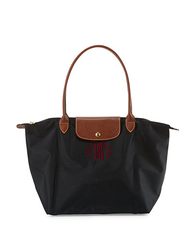 Le Pliage Large Monogram Shoulder Tote Bag, Black