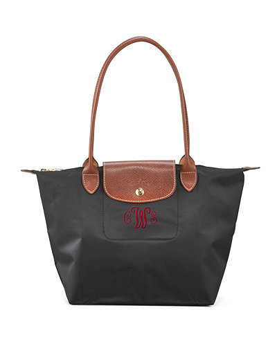 Le Pliage Medium Monogram Shoulder Tote Bag, Black