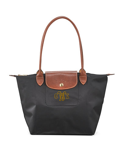 LongchampLe Pliage Medium Monogram Shoulder Tote Bag, Black