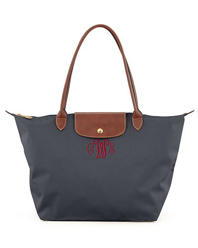 Le Pliage Large Monogram Shoulder Tote Bag, Dark Gray