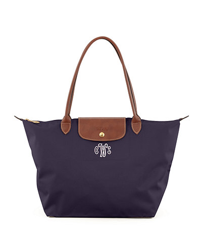 Le Pliage Large Monogram Shoulder Tote Bag, Purple