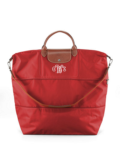 Le Pliage Expandable Travel Monogram Bag, Red