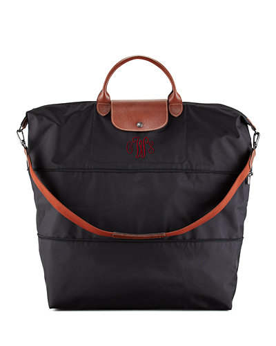 Longchamp Le Pliage Expandable Monogram Travel Bag, Black