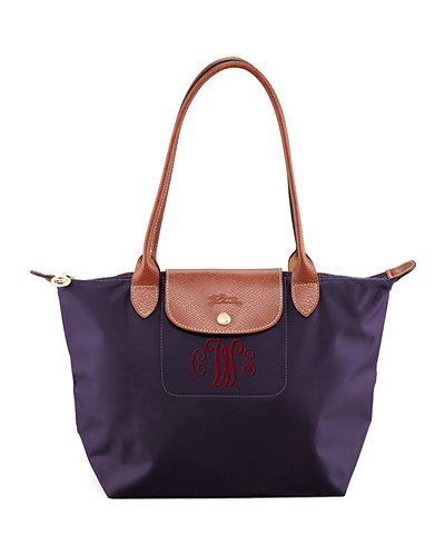 Le Pliage Medium Monogram Shoulder Tote Bag, Bilberry
