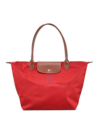 Le Pliage Large Monogram Shoulder Tote Bag, Deep Red
