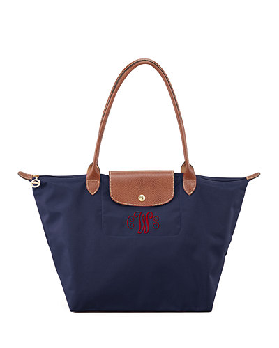 Le Pliage Large Monogram Shoulder Tote Bag, New Navy